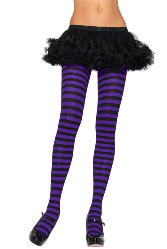 Black and Purple Striped Tights by Leg Avenue