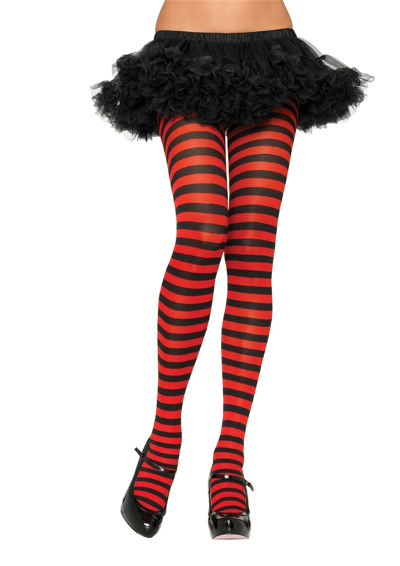 Nylon Striped Tights Adult Womens Accessory