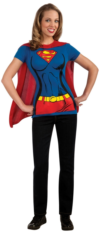 Supergirl T-Shirt With Cape Adult Costume