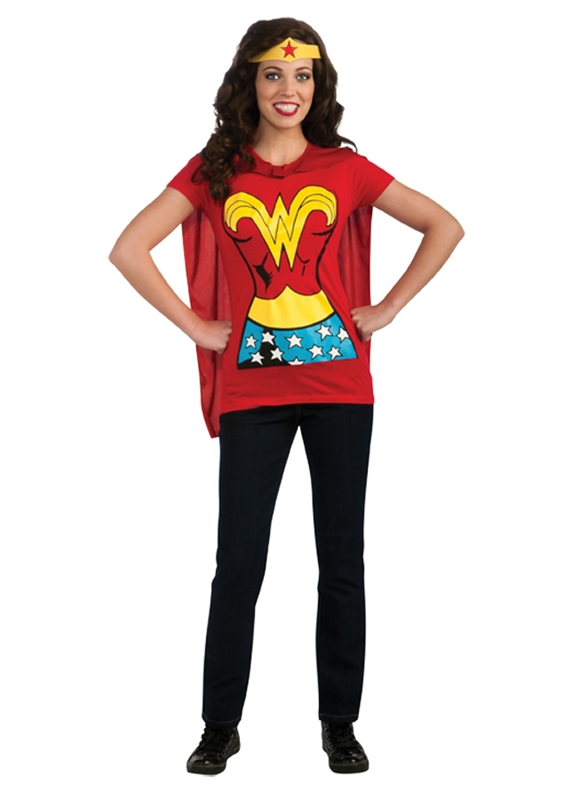 Wonder Woman Adult Costume T-Shirt With Cape