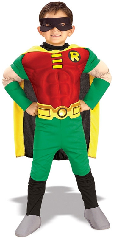 [Teen Titans Robin Deluxe Muscle Chest Toddler Costume] (Teen Titan Robin Costumes)
