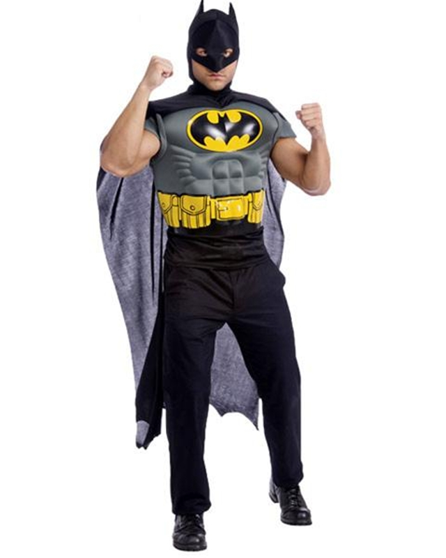 Batman Muscle Shirt Cape Adult Men Costume