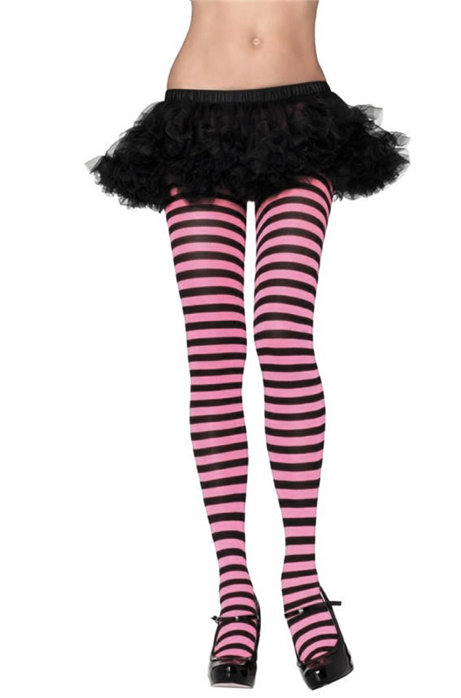 Black and Pink Striped Tights