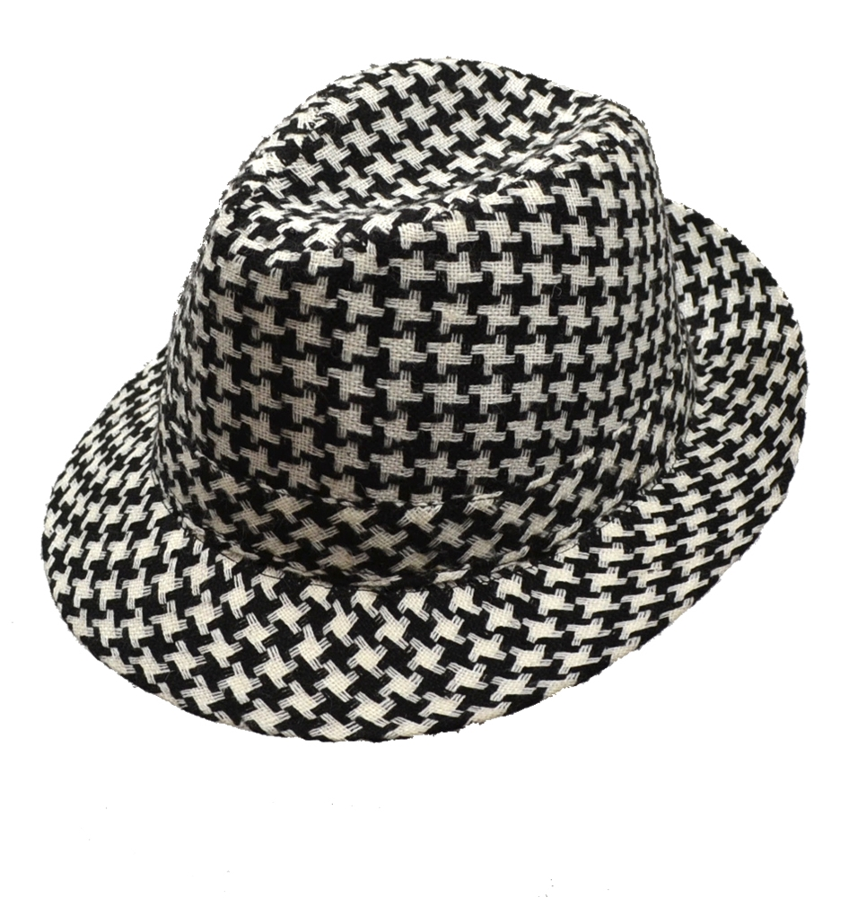 Houndstooth Black and White Fedora Hat