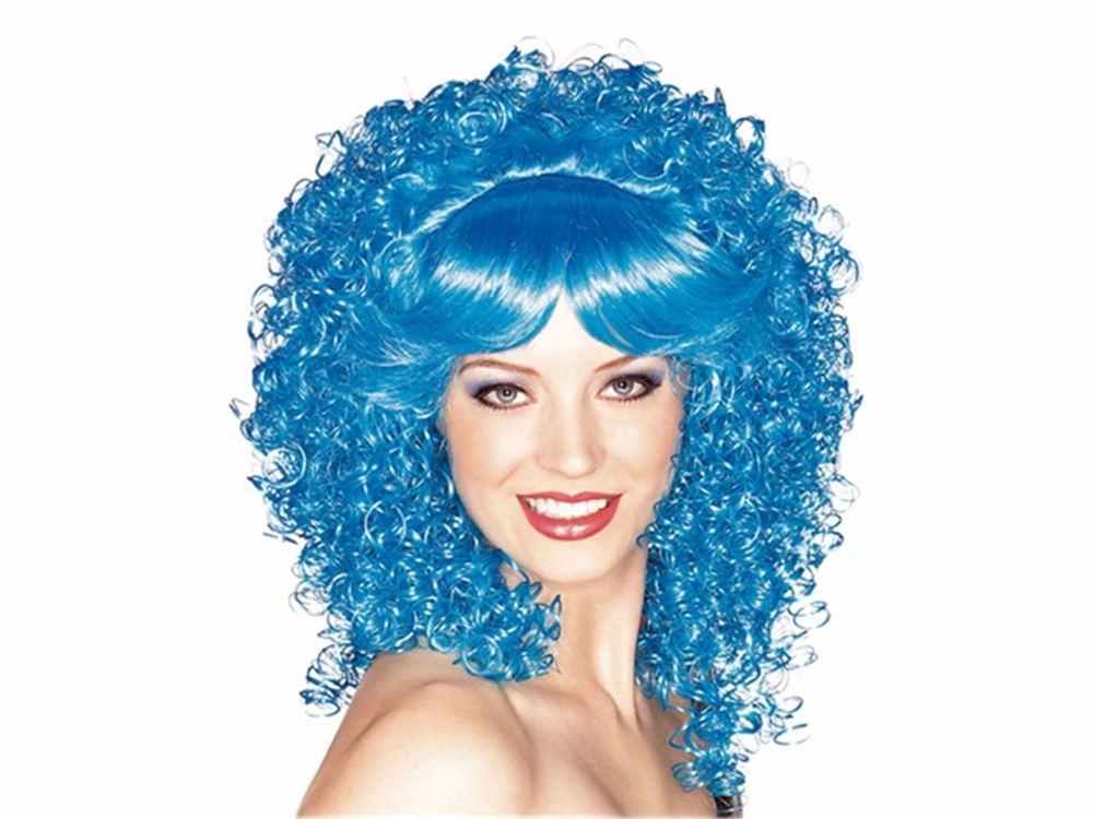 Adult Womens Curly Blue Wig