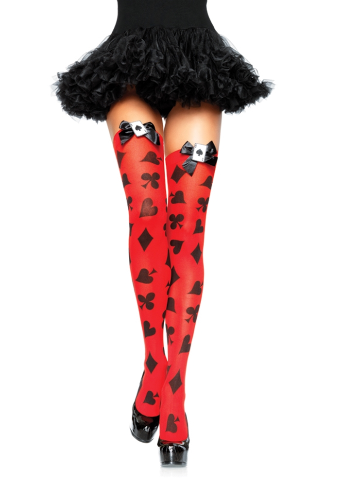 Image of Card Print Thigh Highs Adult Accessory