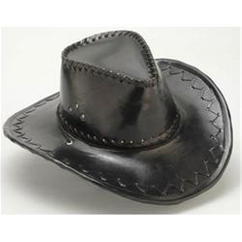 Black Pleather Cowboy Hat by China Products Corp