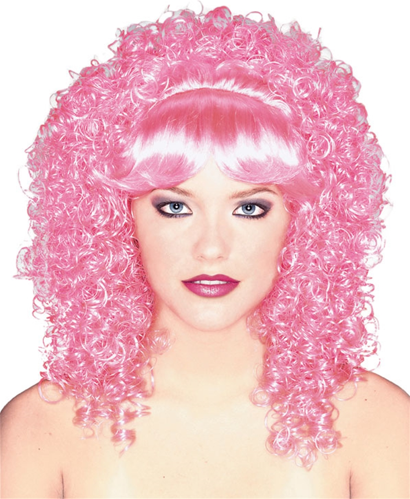Pink Curly Hair Womens Wig by Rubies