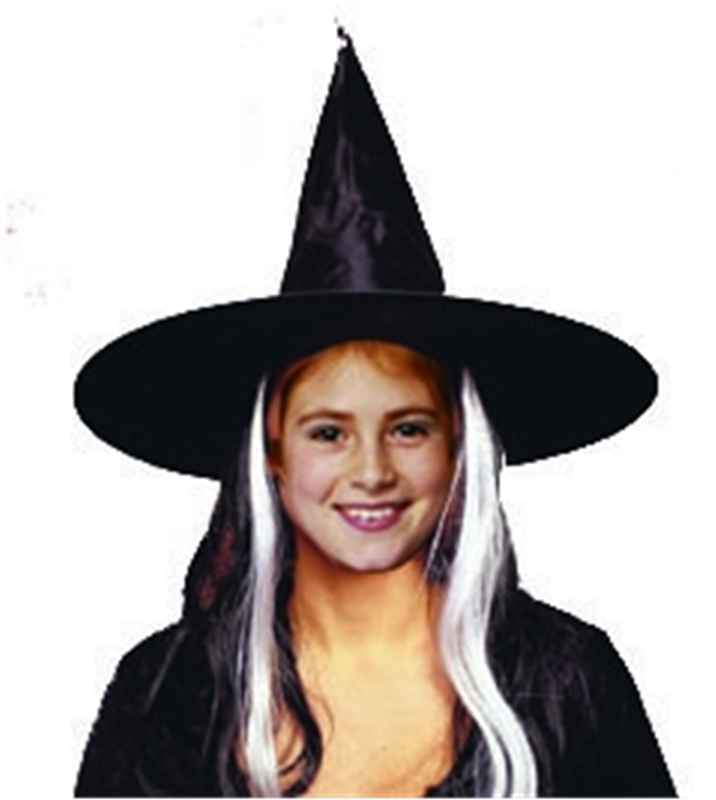 Deluxe Child Witch Hat With Wig