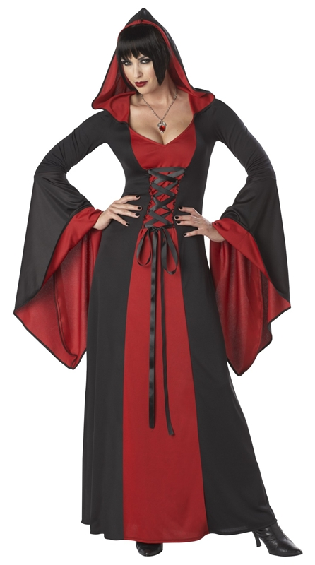 Hooded Robe Lace Up Deluxe Adult Womens Costume