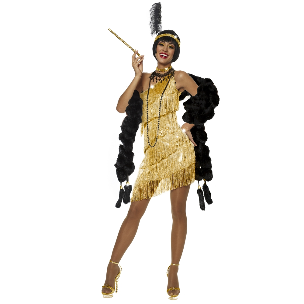[Gold Dazzling Flapper Dress Adult Womens Costume] (Gold Flapper Dress)