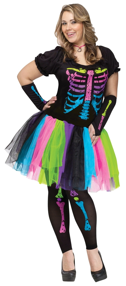 Funky Punk Bones Plus Size Adult Womens Costume