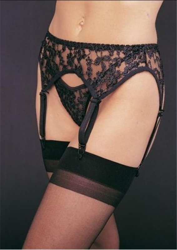 2pc Black Garter Belt
