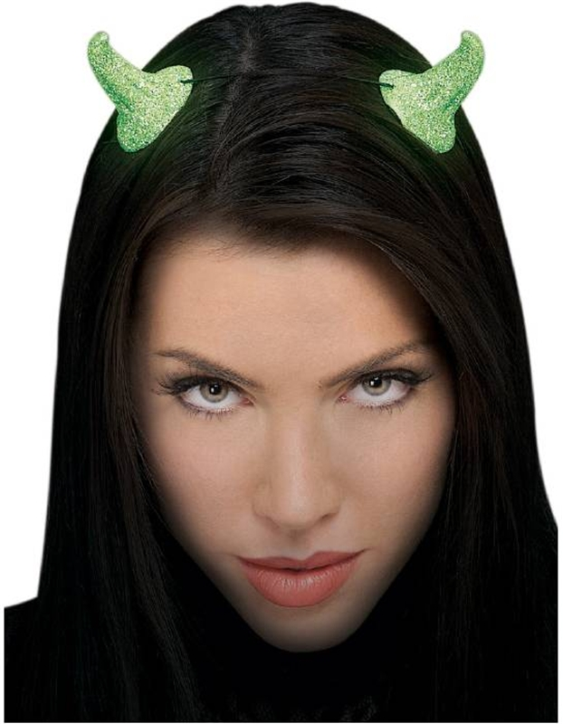Glow In The Dark Glitter Green Devil Horns