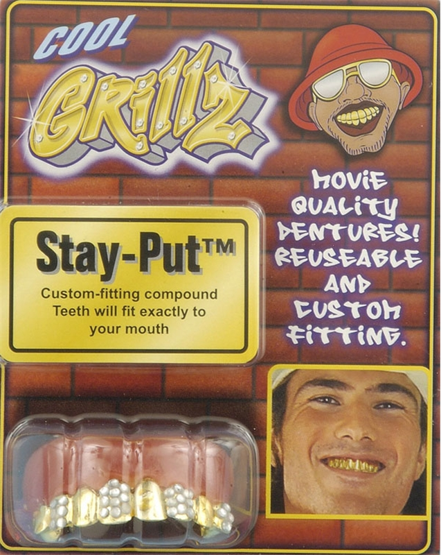 Grillz Teeth-Gold with Rhinestones