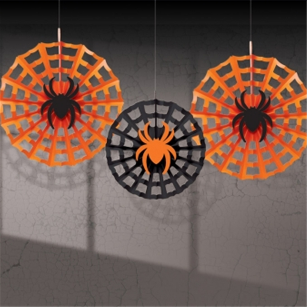 halloween spider web fan decorations