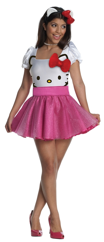 Hello Kitty Face Tutu Dress Adult Costume