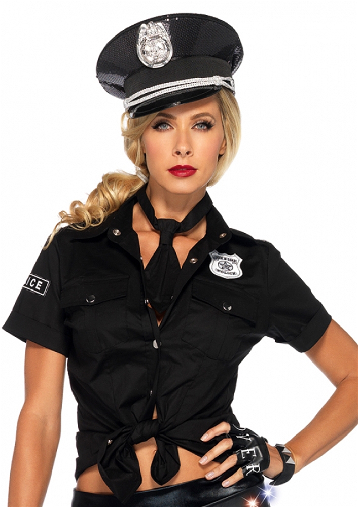 Police Tie Front Adult Womens Shirt
