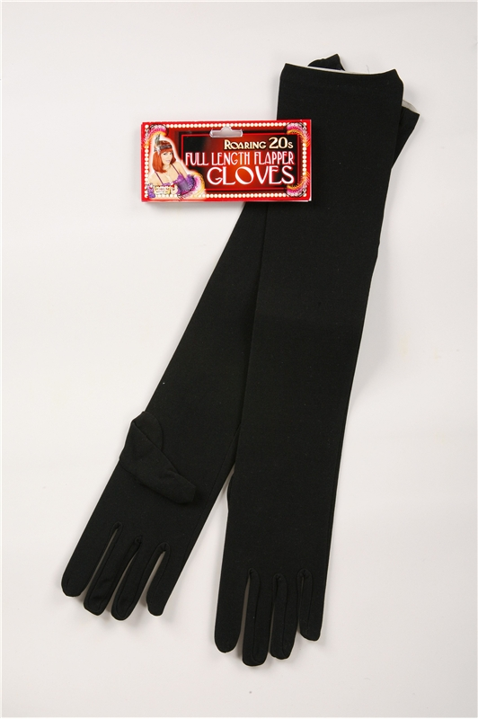 Long Nylon Black Gloves