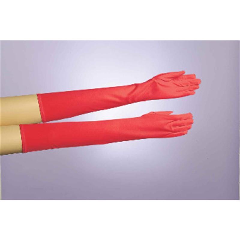 Long Red Nylon Gloves