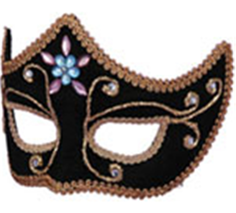 Deluxe Black Mardi Gras Adult Mask