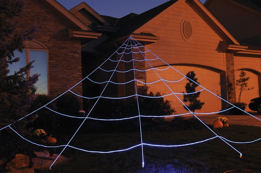 mega yard spider web halloween huge lawn decoration ebay. Black Bedroom Furniture Sets. Home Design Ideas