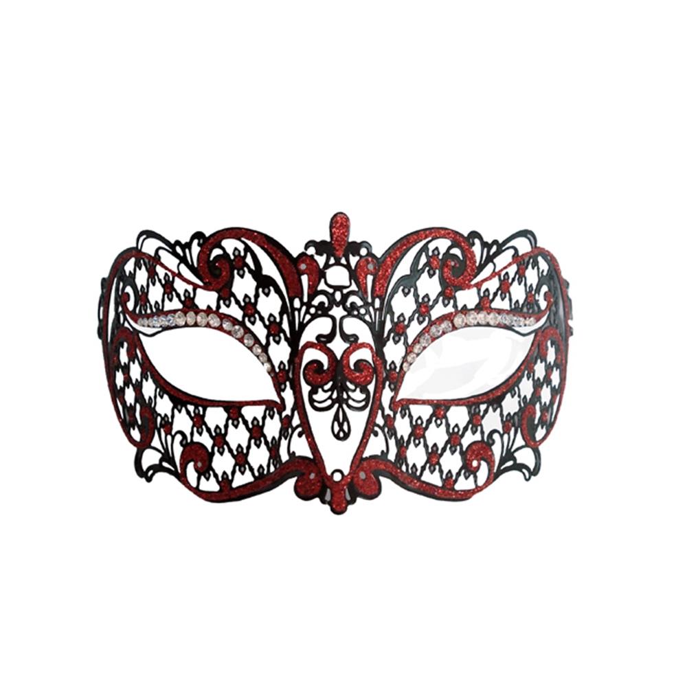 Metal Venetian Black With Red Half Mask by K.B.W. Global Corp