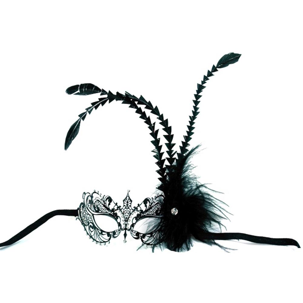 Metal Venetian Feathers Black Mask by K.B.W. Global Corp