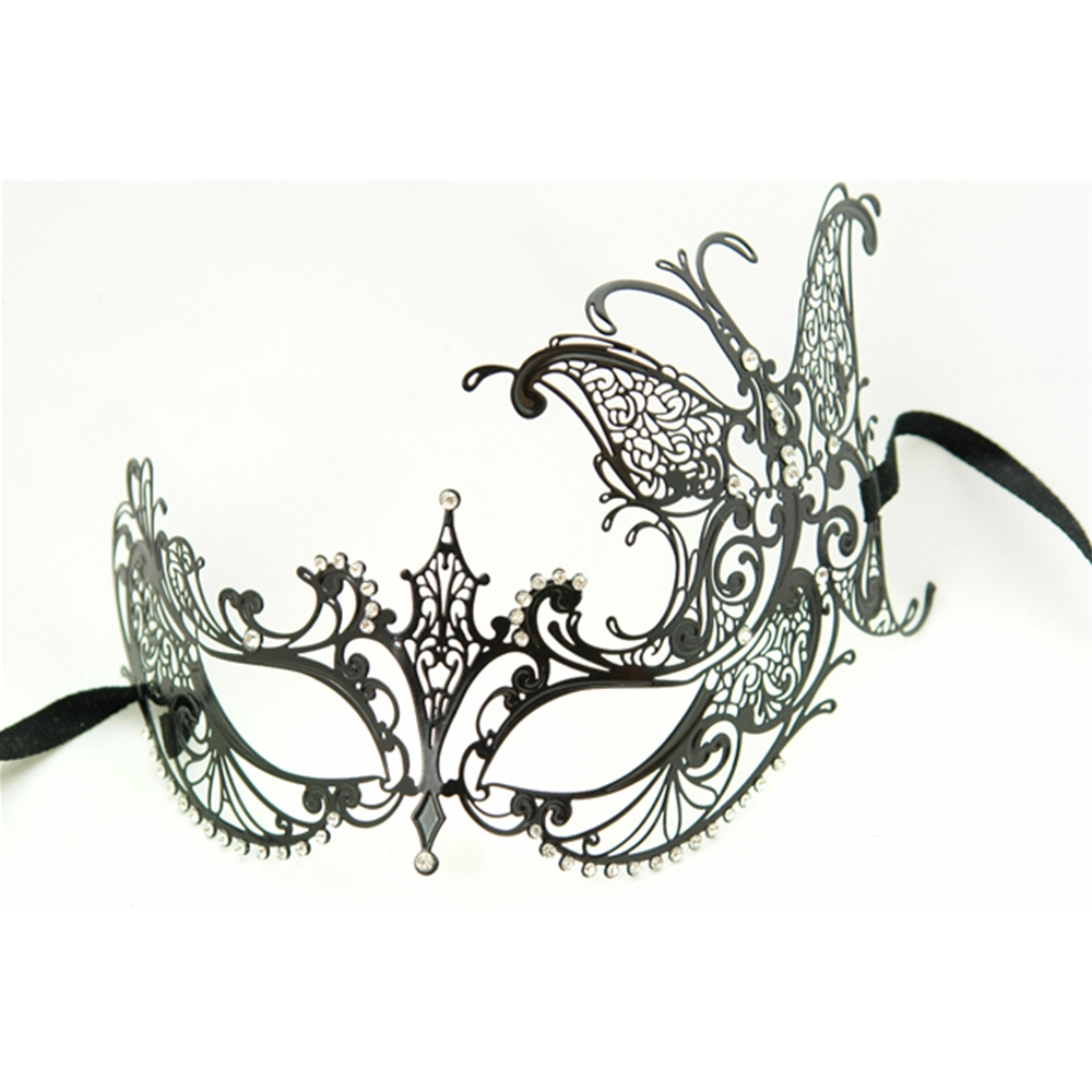 Metal Venetian With Side Butterfly Black Mask