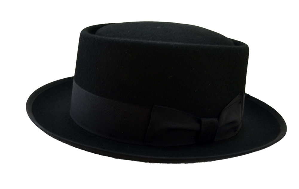 Deluxe Wool Heisenberg Pork Pie Black Hat