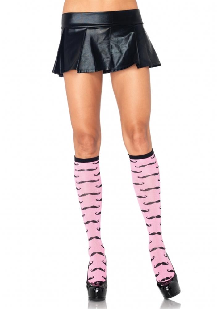 Pink Mustache Knee Socks