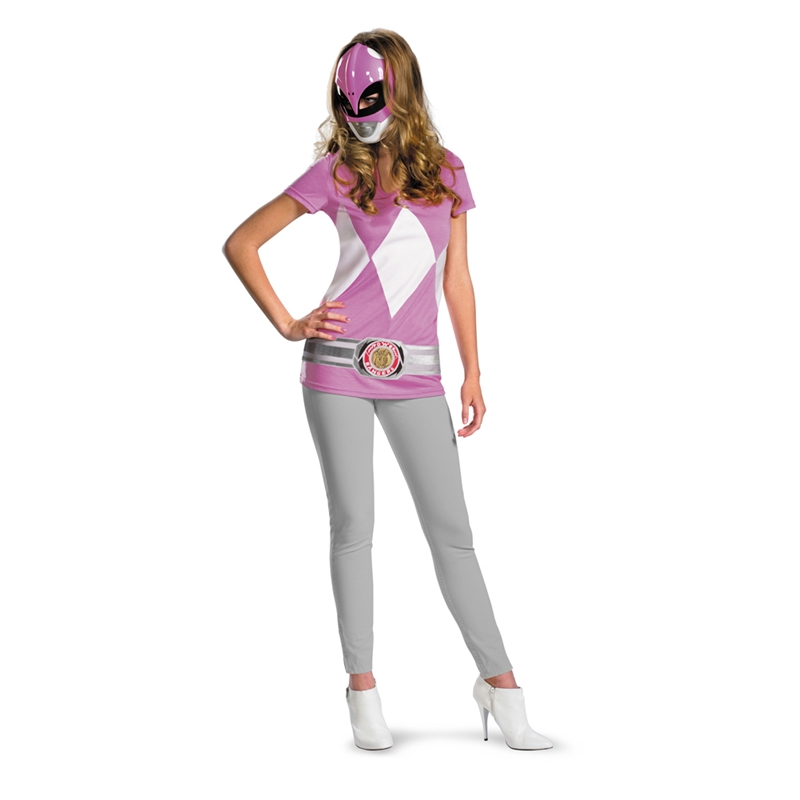Pink Ranger T-Shirt with Mask Junior Costume