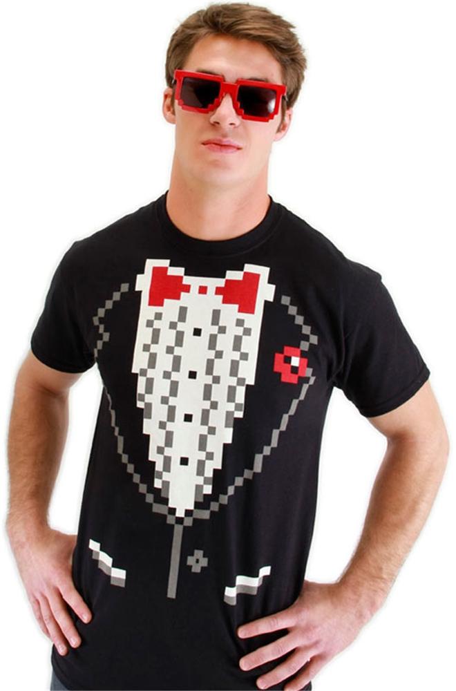 Pixel-8 Tuxedo Shirt Adult Mens Costume