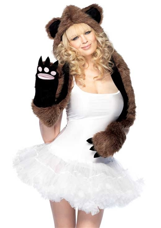 Plush Bear Hood with Paw Scarf (Bear Hood With Paw Scarf)
