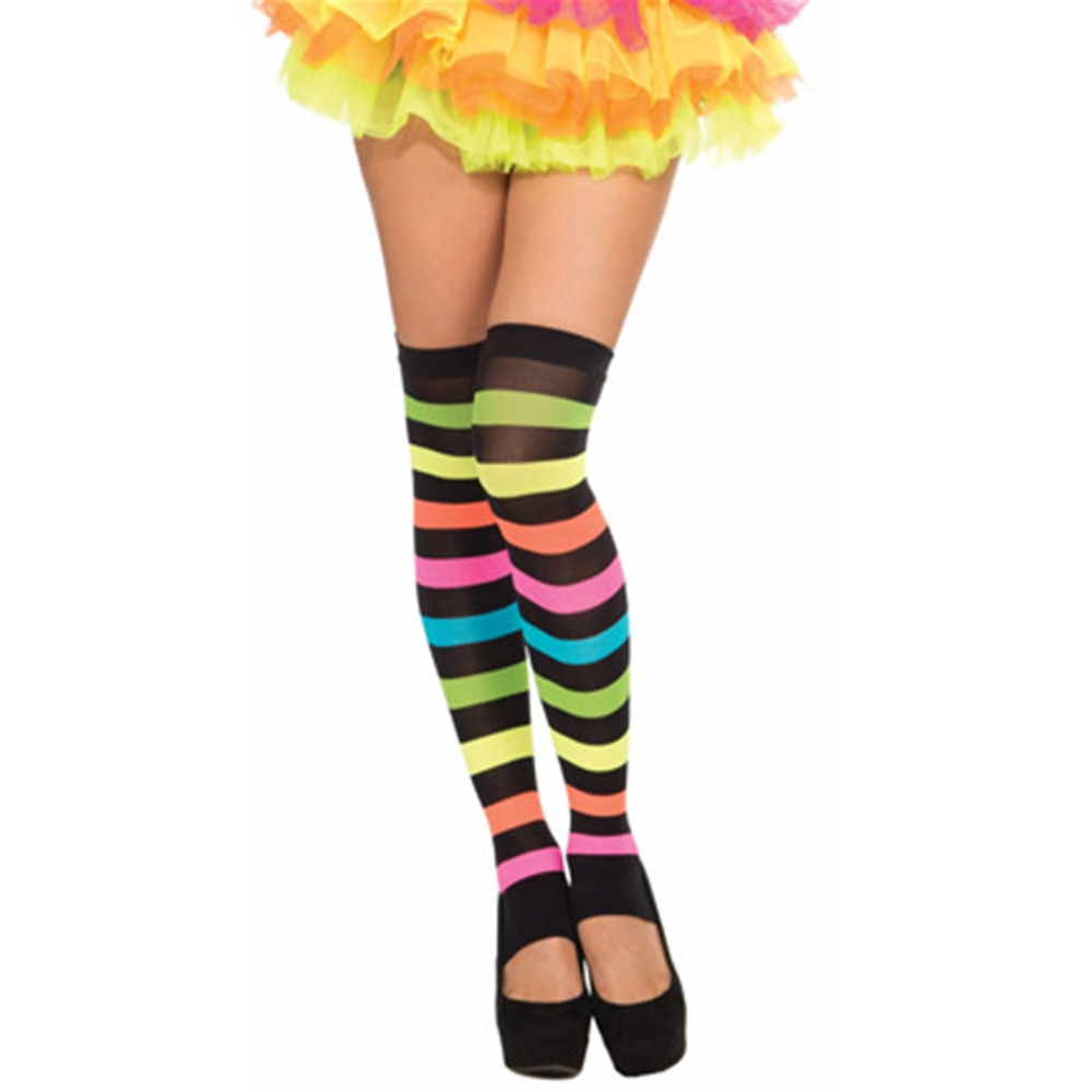 Rainbow Striped Thigh High