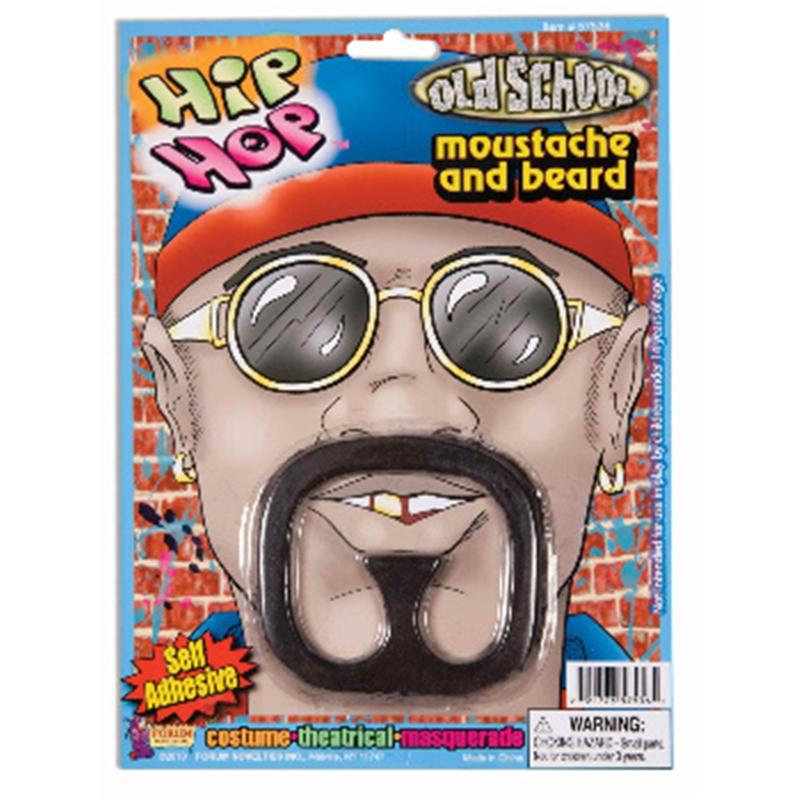 Rap Star Moustache & Beard Black