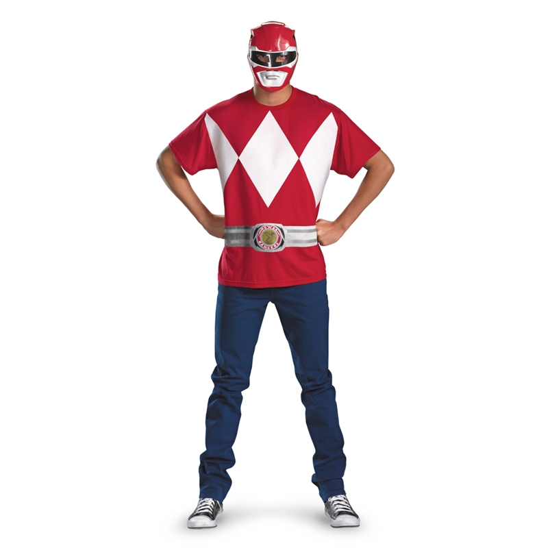 Red Ranger T-Shirt With Mask Adult Costume by Disguise