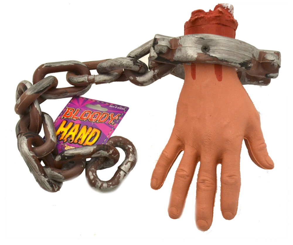 Bloody Severed Hand On Chain