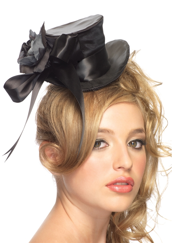 Black Satin Top Hat with Flower And Bow