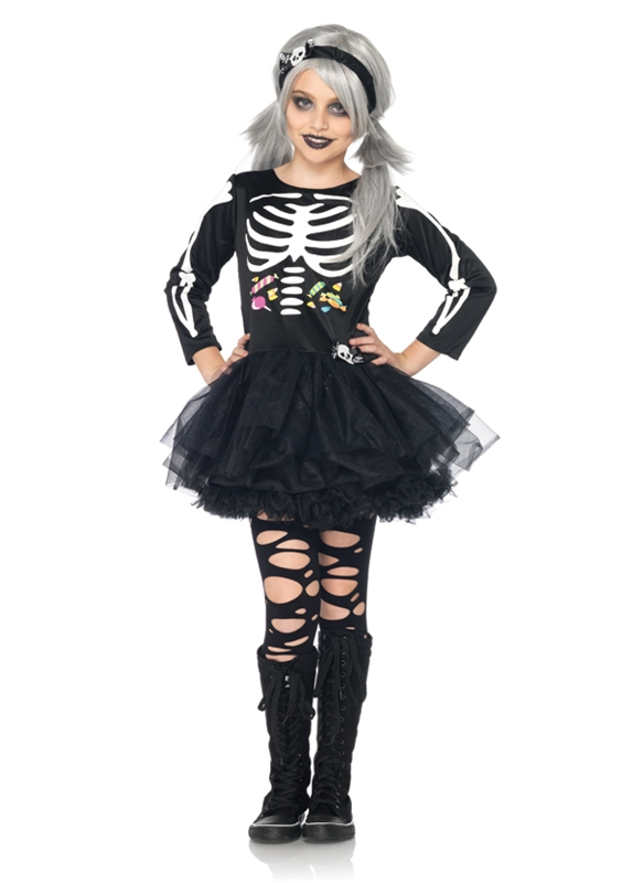 Scary Skeleton Child Girl Costume