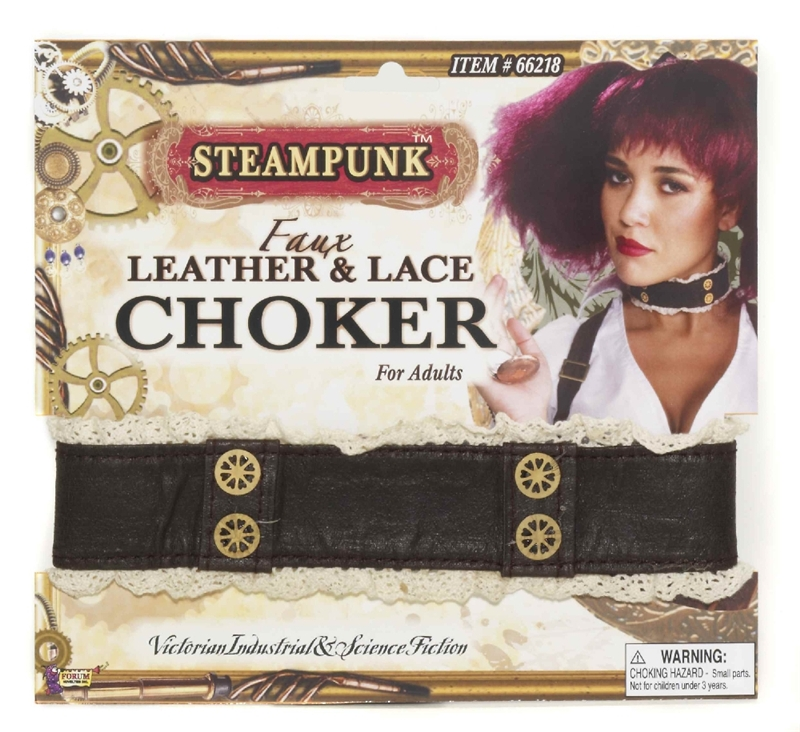 Steampunk Leather & Lace Choker