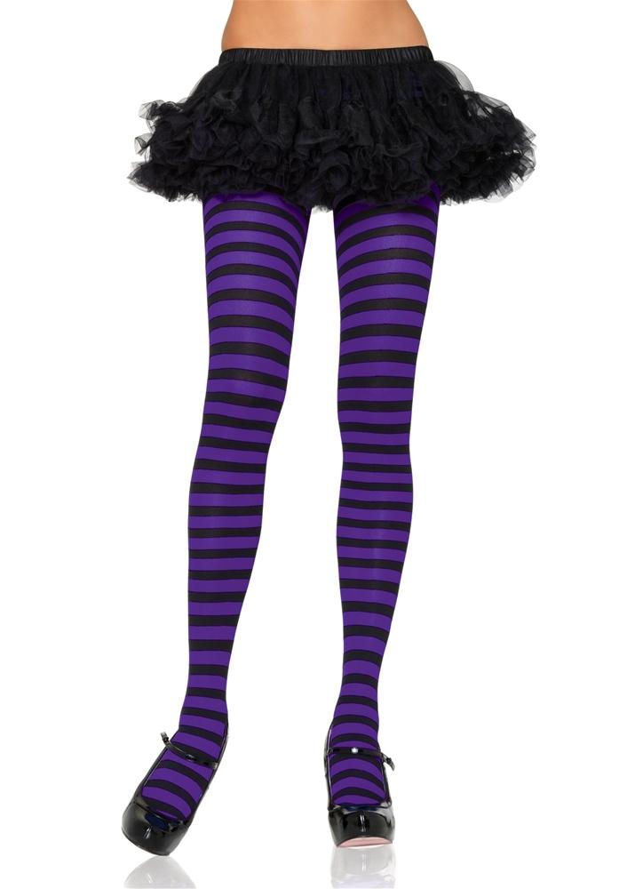 Купить Striped Black & Purple Plus Size Tights
