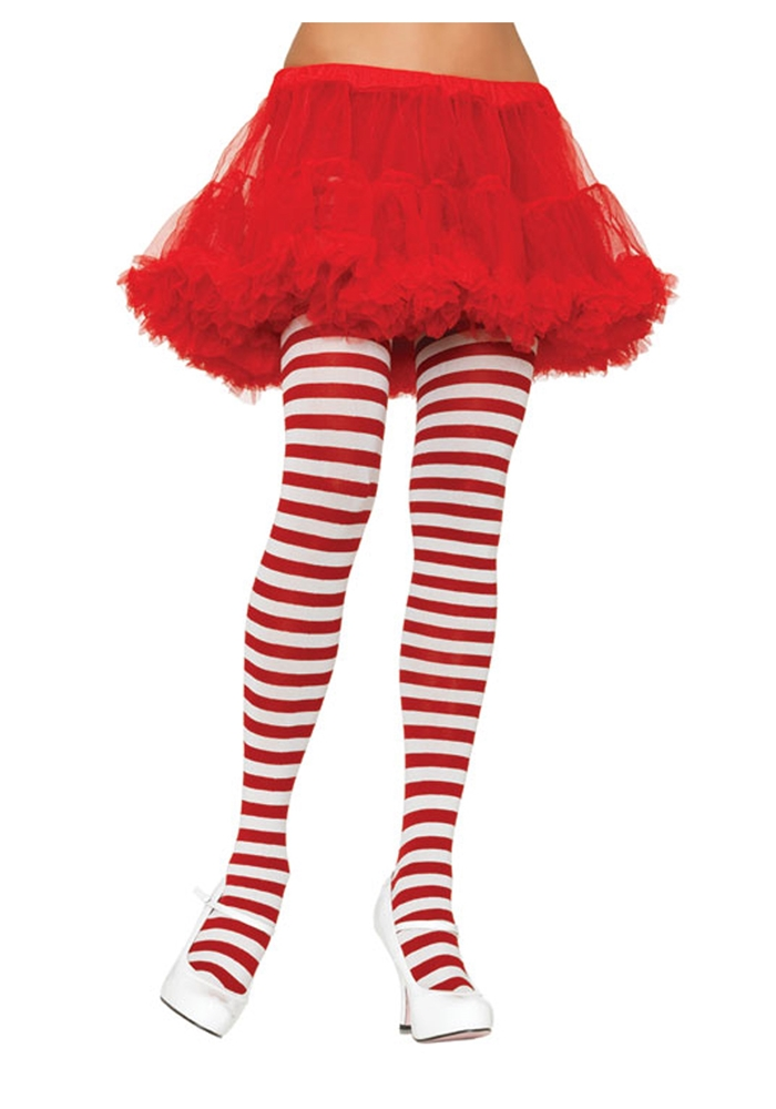 Striped Tights Plus White and Red
