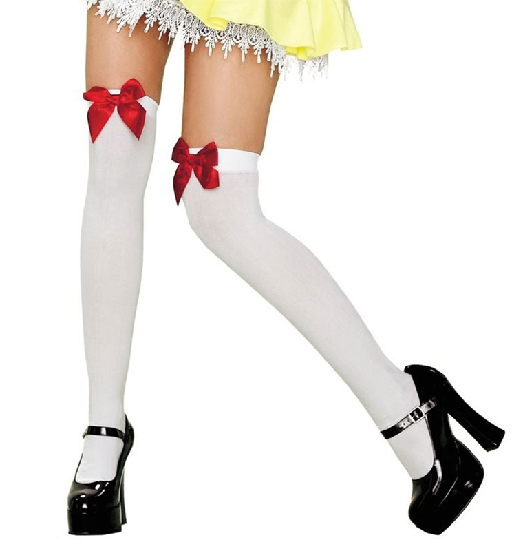 Thigh High White & Red Bow