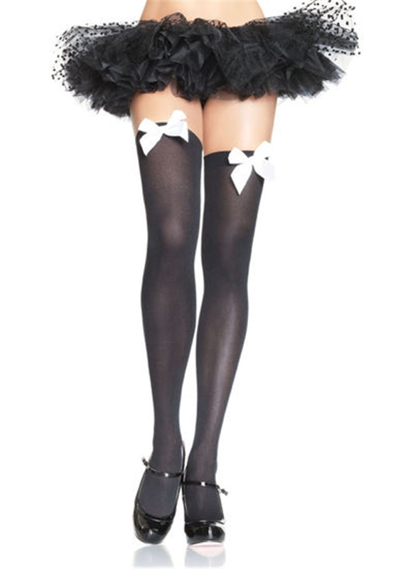 Thigh High Stockings With Bow Accent by Leg Avenue