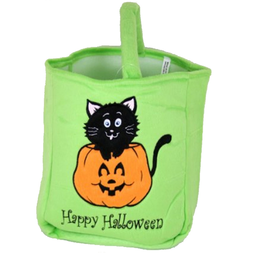 Totally Ghoul Plush Trick Pumpkin Cat Treat Bag