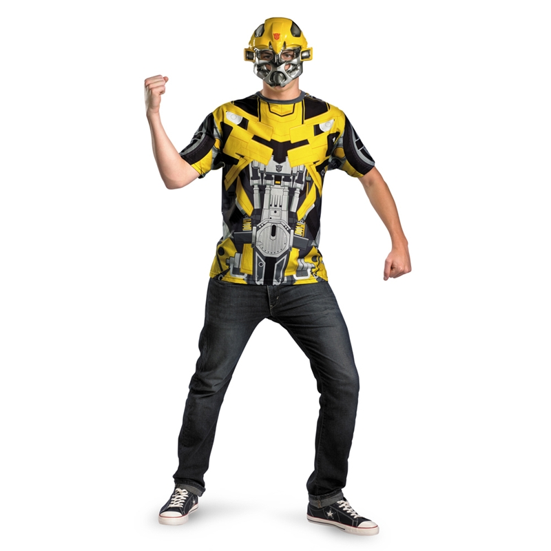 Transformers Bumblebee T-Shirt with Mask Plus Size Adult Mens Costume