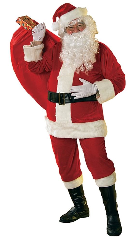 Velour Santa Claus Suit Adult Mens Costume