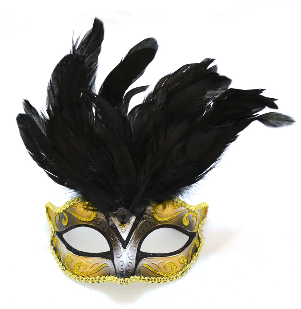 Venetian Child Mask with Feathers by K.B.W. Global Corp