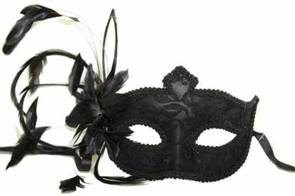 Venetian Lace Feather Flower Mask